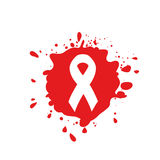 Isolated white ribbon disease awareness. Red blood stain logo. World Aids Day concept. Stop virus icon. International Royalty Free Stock Images