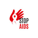Isolated white ribbon in red human hand. Disease awareness. World Aids Day concept. Stop virus icon. International Stock Images