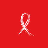 Isolated white ribbon sketch disease awareness. World Aids Day concept. Stop virus icon on red background. International Stock Photos