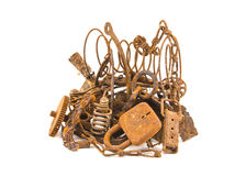 Isolated on white rusty iron scrap metal Royalty Free Stock Photography