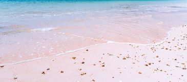 Isolated white sand beach on tropical island Royalty Free Stock Images