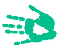 Hand print. Isolated on white - Sea green hand print Royalty Free Stock Photos