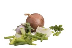 Isolated on white. Spring onions, garlic, basil. Close up Royalty Free Stock Photo