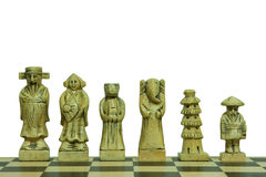 Isolated white stone chess pieces Royalty Free Stock Photos