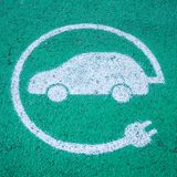 Electric car charging station sign, sustainable mobility Stock Photography