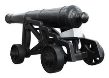 Isolated on white vintage cannon Royalty Free Stock Image