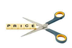 price cutting Turkish indirim being cut by scissor Royalty Free Stock Photo