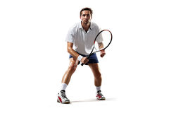 Isolated on white young man is playing tennis Stock Photos