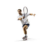 Isolated on white young man is playing tennis Royalty Free Stock Image