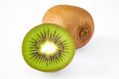 Isolated whole anf half kiwi fruit Royalty Free Stock Photography