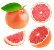 Isolated whole and cut grapefruits collection Stock Image
