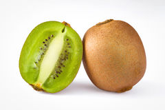 Isolated whole and half kiwi fruit Stock Photo