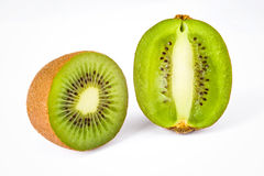 Isolated whole and half kiwi fruit Royalty Free Stock Image
