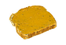Isolated whole wheat peanut butter toast breakfast Royalty Free Stock Image