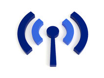 Isolated wi fi (wireless) icon. 3d render of isolated wireless icon. In two blues colors