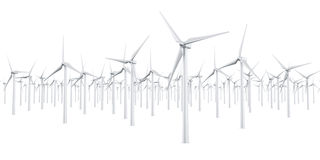 Isolated wind turbines. 3d rendering of multiple wind turbines in a wite studio setup Stock Photography