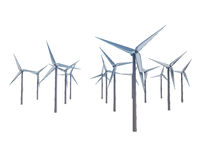Isolated windmill generators field in row Stock Images