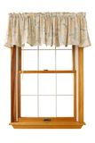 Isolated Window (Clipping Path). A window with a peach-flowered valance, isolated on white.  Clipping path around both outside and inside of window Stock Photos