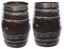 Isolated wine barrels. Two views of an isolated brewery barrle including clipping path Stock Photo