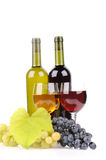 Isolated wine bottle with glass Royalty Free Stock Image