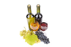Isolated wine bottle with glass Stock Photo