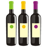 Isolated wine bottles set Stock Images