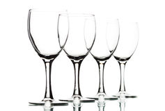 Isolated wine glasses on white. Close up Stock Photo