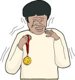 Isolated Winner Crying. Overwhelmed and sobbing Asian man holding gold medal Stock Photo
