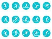 Winter sport round button icons set. Isolated winter sport round button icons set from white background Stock Images