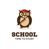 Isolated wise owl vector logo. School logotype. Cartoon illustration. Teacher. Stock Images