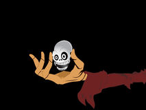 Isolated witch hand holding skull. Black background with isolated witch hand holding skull royalty free illustration