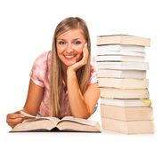 Isolated woman with books Stock Photography