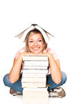 Isolated woman with books Royalty Free Stock Photography