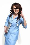 Woman doctor carrying a laptop Royalty Free Stock Images