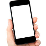 Isolated woman hand holding the phone Stock Images