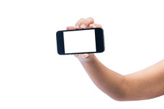 Isolated woman hand holding the phone tablet touch computer gadg Stock Images