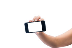 Isolated woman hand holding the phone tablet touch computer gadg Stock Image