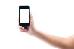 Isolated woman hand holding the phone tablet touch computer gadg Royalty Free Stock Images