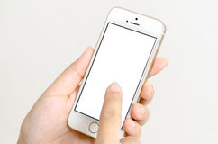 Isolated woman hand holding the phone tablet touch Stock Photography