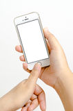 Isolated woman hand holding the phone tablet touch Stock Photos