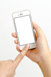 Isolated woman hand holding the phone tablet touch Royalty Free Stock Photo