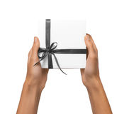 Isolated Woman Hands holding Holiday Present White Box with Grey Stock Photography