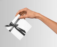 Isolated Woman Hands holding Holiday Present White Box with Grey Ribbon on a White Background Stock Images