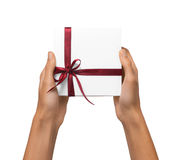 Isolated Woman Hands holding Holiday Present White Box with Red Ribbon on a White Background Stock Image