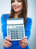 Isolated woman hold count machine. Isolated female portrait. Beautiful worker girl royalty free stock image