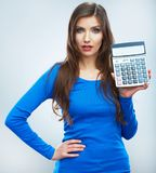 Isolated woman hold count machine. Isolated female portrait. Stock Photo