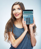Isolated woman hold count machine. Isolated female portrait. Royalty Free Stock Images