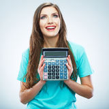 Isolated woman hold count machine. Isolated female portrait. Stock Images