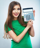 Isolated woman hold count machine. Isolated female portrait. Stock Image