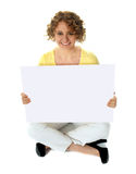 Isolated woman holding blank banner ad Royalty Free Stock Images
